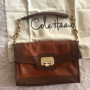 Cole Haan Leather color block gold chain bag
